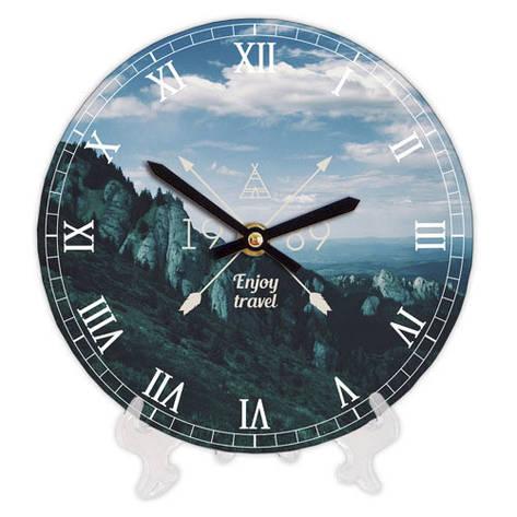 Годинники настінні круглі, 18 см Enjoy travel Гори, фото 2