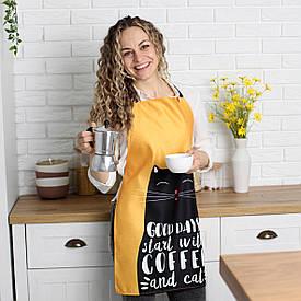 Фартух повнокольоровий Сolorful Good days start with coffee and cat