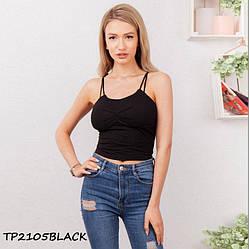 Топ жіночий чорний з вузькими бретелями TP2105black | 1 шт.