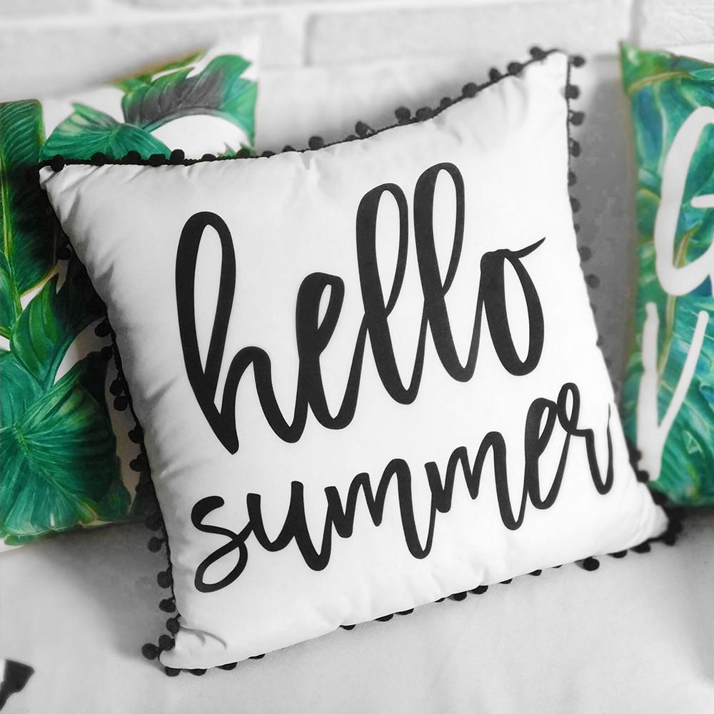 Подушка декоративна (шовк) з помпонами Hello summer