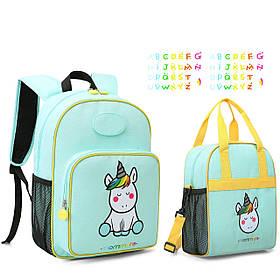 Дитячий рюкзак 2 в 1 Mommore Unicorn і сумка для сніданків Бірюзовий (FB0240012A007MM)
