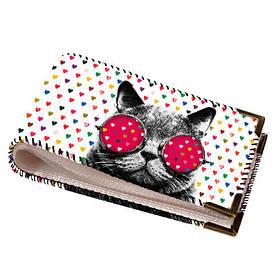 Візитниця для пластикових карт Кіт в окулярах
