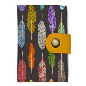 Кредитница на кнопке Разноцветные перья