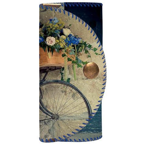 Ключница для сумки (текстиль) Велосипед и цветы, фото 2