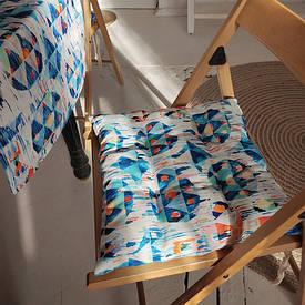 Подушка на стул с завязками Размытый орнамент