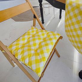 Подушка на стул с завязками Бело-желтые полосы