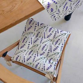 Подушка на стул с завязками Лаванда