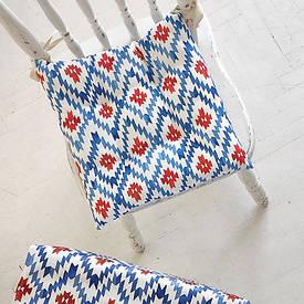 Подушка на стул с завязками Этно орнамент