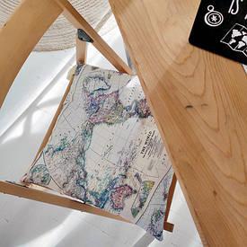 Подушка на стул с завязками Карта