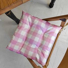 Подушка на стул с завязками Бело-розовые квадраты