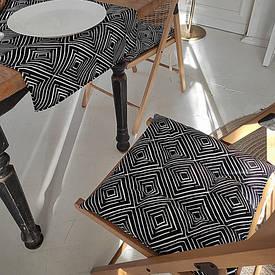 Подушка на стул с завязками Ромбовидный орнамент