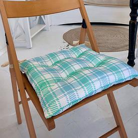 Подушка на стул с завязками Бело-бирюзовые квадраты