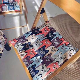 Подушка на стул с завязками Коты