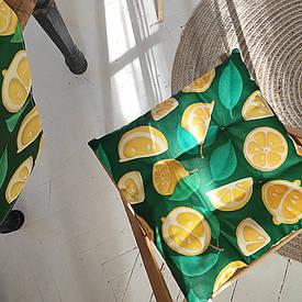 Подушка на стул с завязками Лимоны