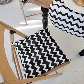 Подушка на стул с завязками Зигзаг черно-белый