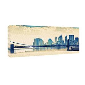 Картина на тканини, 30х65 см Бруклінський міст Нью-Йорк