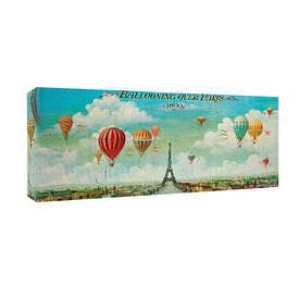 Картина на тканини, 30х65 см Ballooning over Paris