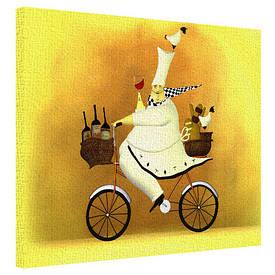 Картина на ткани, 40х50 см Chef on Bicycle