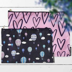 Комплект косметичек Double (2 шт) Воздушные шары и сердца