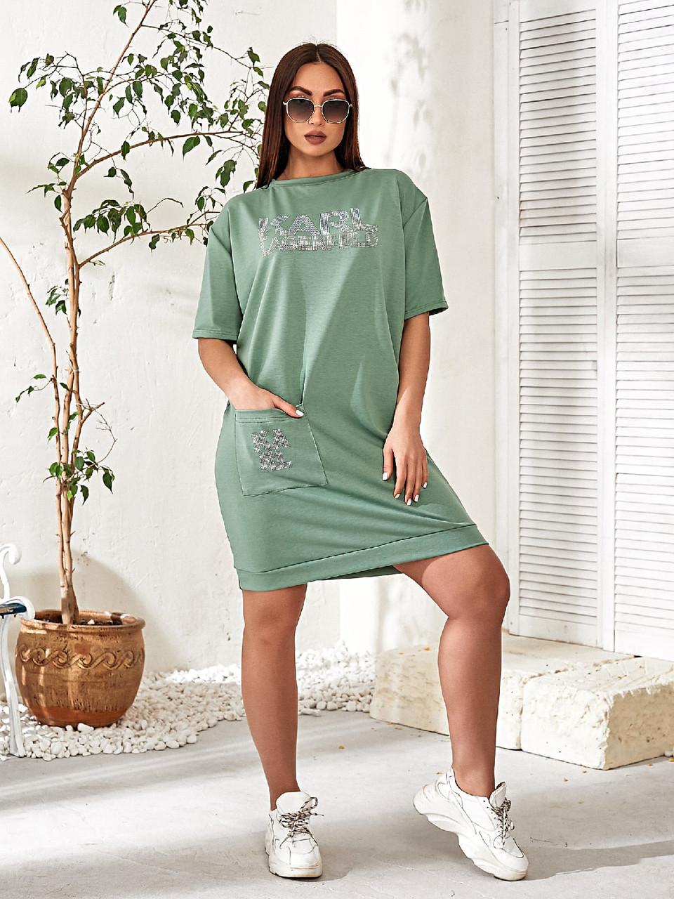 Женское повседневное платье в спортивном стиле двухнить до колен короткий рукав размер: 48-54.