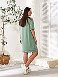 Женское повседневное платье в спортивном стиле двухнить до колен короткий рукав размер: 48-54., фото 4