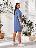 Женское повседневное платье в спортивном стиле двухнить до колен короткий рукав размер: 48-54., фото 8
