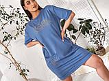 Женское повседневное платье в спортивном стиле двухнить до колен короткий рукав размер: 48-54., фото 6