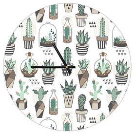 Часы настенные круглые, 36 см Кактусы