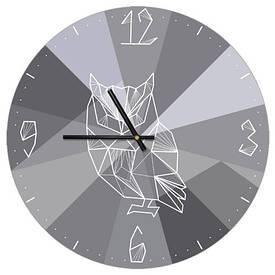 Часы настенные круглые, 36 см Геометрическая сова
