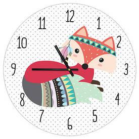Часы настенные круглые, 36 см Гламурная лисичка