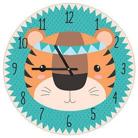 Часы настенные круглые, 36 см Тигренок индеец