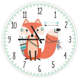 Часы настенные круглые, 36 см Лисичка индеец