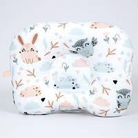 Детская ортопедическая подушка BabySoon Совушки и зайчики 22х26 см наполнитель высший сорт молочный (П-314)