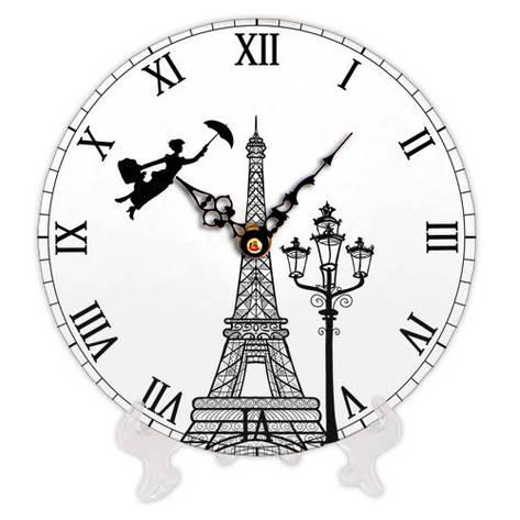 Годинники настінні круглі, 18 см Eiffel Tower art, фото 2