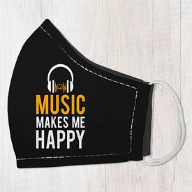 Маска защитная для лица, размер M-L Music makes me happy