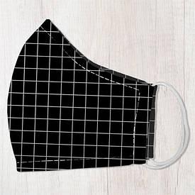 Маска защитная для лица, размер L-XL Черная клетка