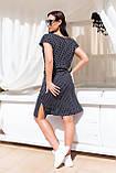 Женское черное платье в горох до колен короткий рукав размер: 48-54., фото 2