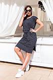 Женское черное платье в горох до колен короткий рукав размер: 48-54., фото 3