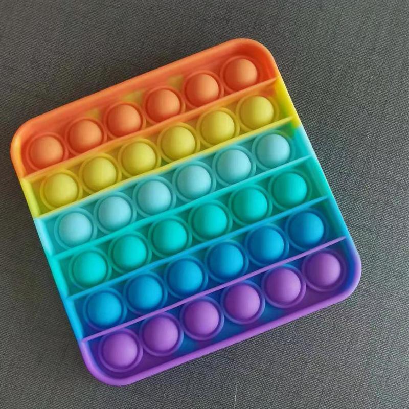 Антистресс сенсорная игрушка Pop It квадрат Силиконовая Поп Ит Push Up Bubble Разноцветная Пупырка