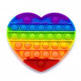 Антистрес сенсорна іграшка Pop It серце Силіконова Поп Іт Push Up Bubble Різнобарвна Пупырка, фото 3