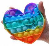 Антистрес сенсорна іграшка Pop It серце Силіконова Поп Іт Push Up Bubble Різнобарвна Пупырка, фото 6