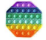 Антистрес сенсорна іграшка Pop It восьмиугольк Силіконова Поп Іт Push Up Bubble Різнобарвна Пупырка, фото 2