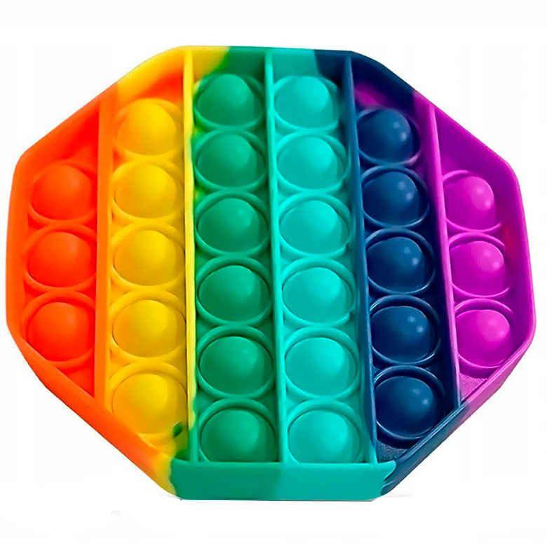 Антистресс сенсорная игрушка Pop It восьмиугольк Силиконовая Поп Ит Push Up Bubble Разноцветная Пупырка
