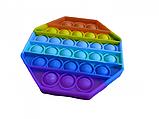 Антистрес сенсорна іграшка Pop It восьмиугольк Силіконова Поп Іт Push Up Bubble Різнобарвна Пупырка, фото 5