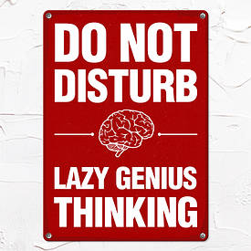 Металева табличка Do not disturb Lazy genius thinking