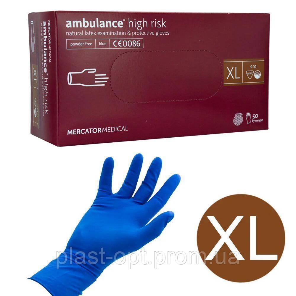 Оглядові рукавички нестерильні AMBULANCE PF (High Risk) XL 25пар / уп