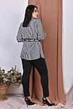 Повсякденний жіночий батальний брючний костюм у смужку і поясом в комплекті (р. 50--64)., фото 2