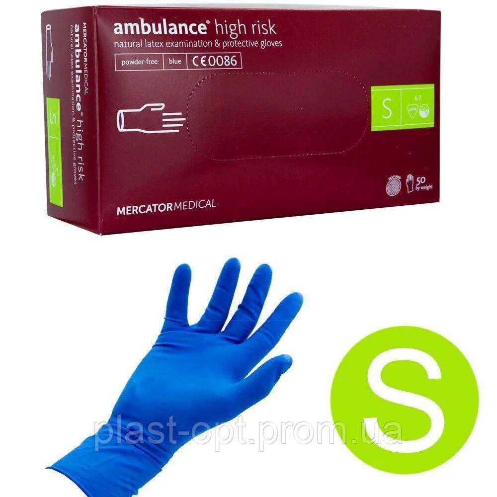 Оглядові рукавички нестерильні AMBULANCE PF (High Risk) S 25пар / уп