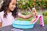 Игровой набор с куклой Barbie Бассейном и горкой, фото 2