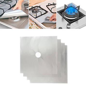 Багаторазові сірі захисні накладки (27х27см) для газової плити, антипригарний килимок, накладка на плиту (SV)